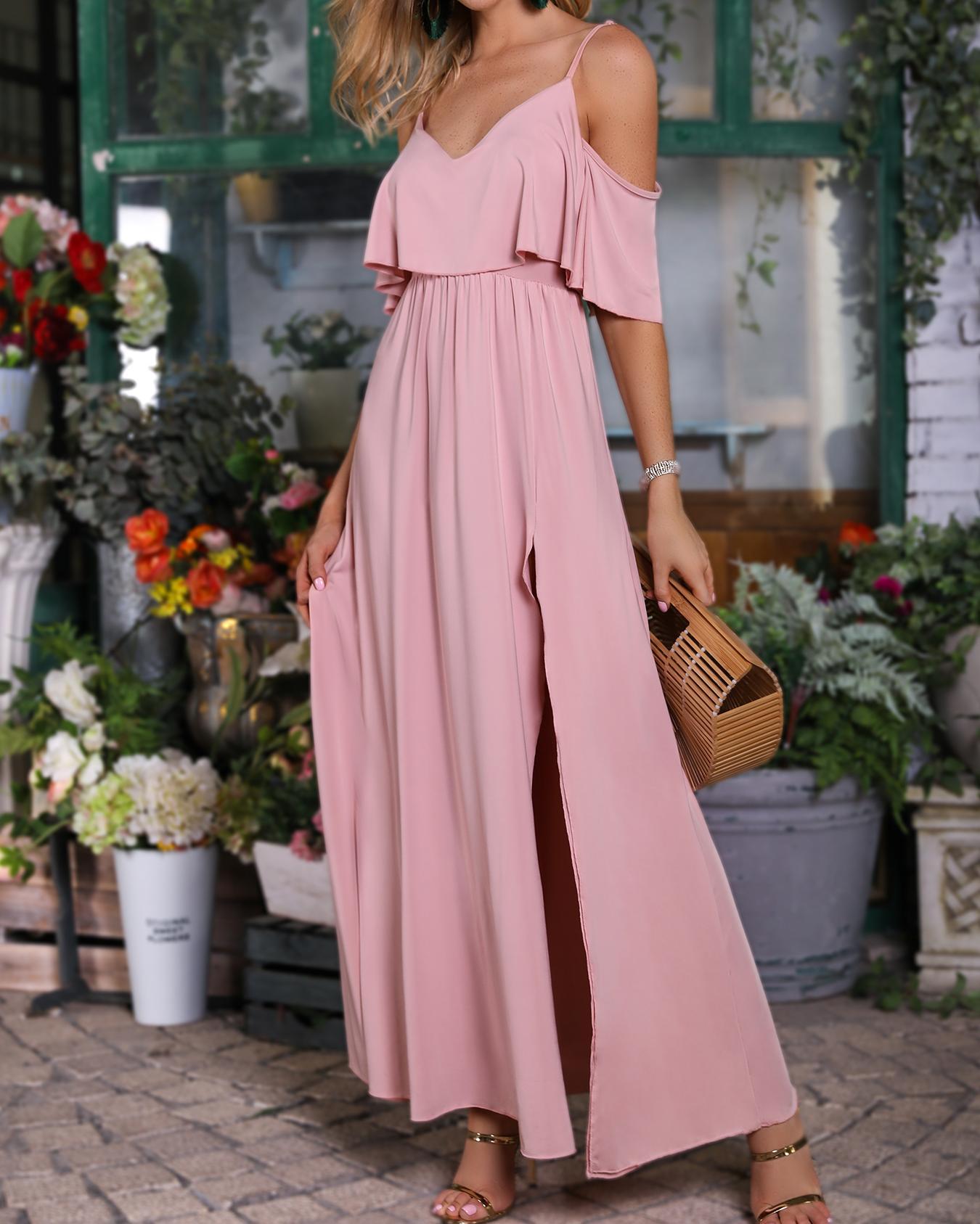 Solid Cold Shoulder Thigh Slit Maxi Dress