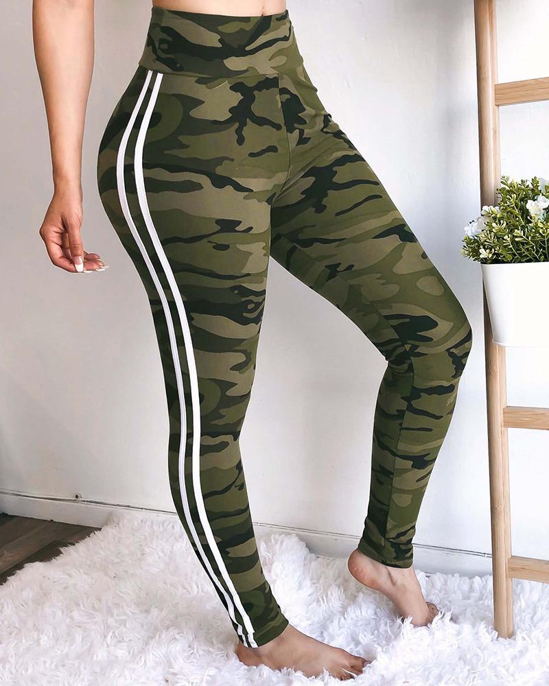 chicme / Pantalones deportivos de rayas laterales de camuflaje