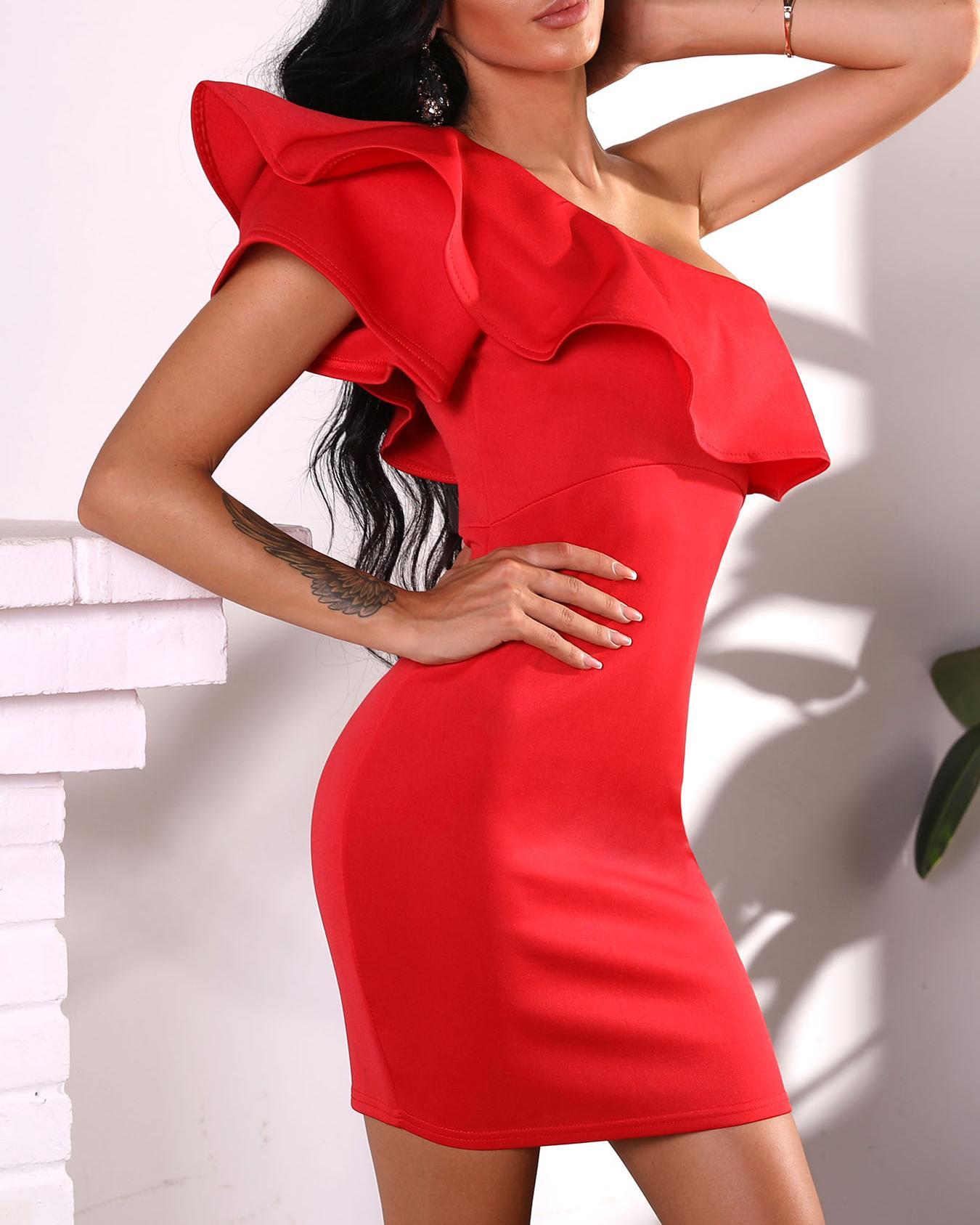 Solid Flounce Skew Shoulder Bodycon Dress фото