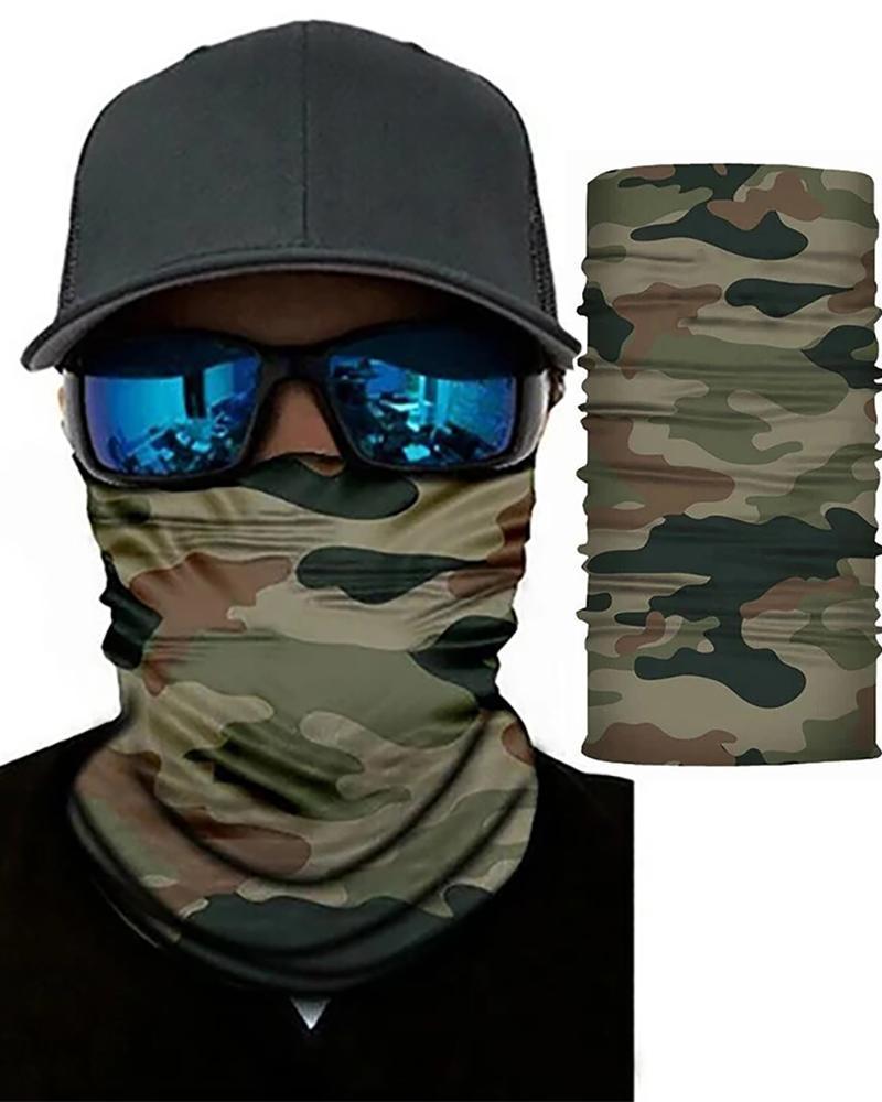 Camouflage Print Face Bandana Magic Scarf Headwrap Balaclava, Army green