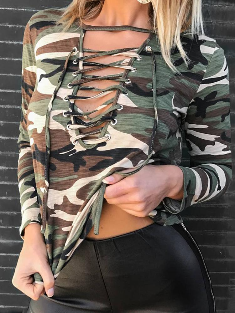 Camouflage Print Lace-up Casual Blouse