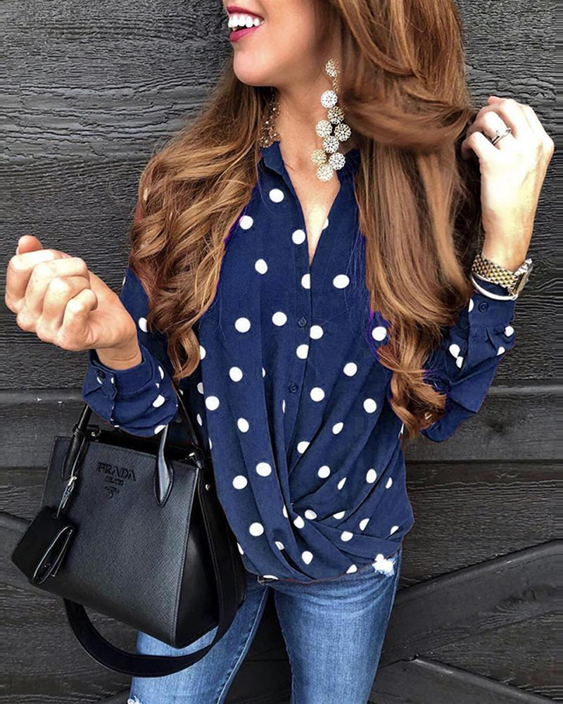 Polka Dot Button-Up Top фото