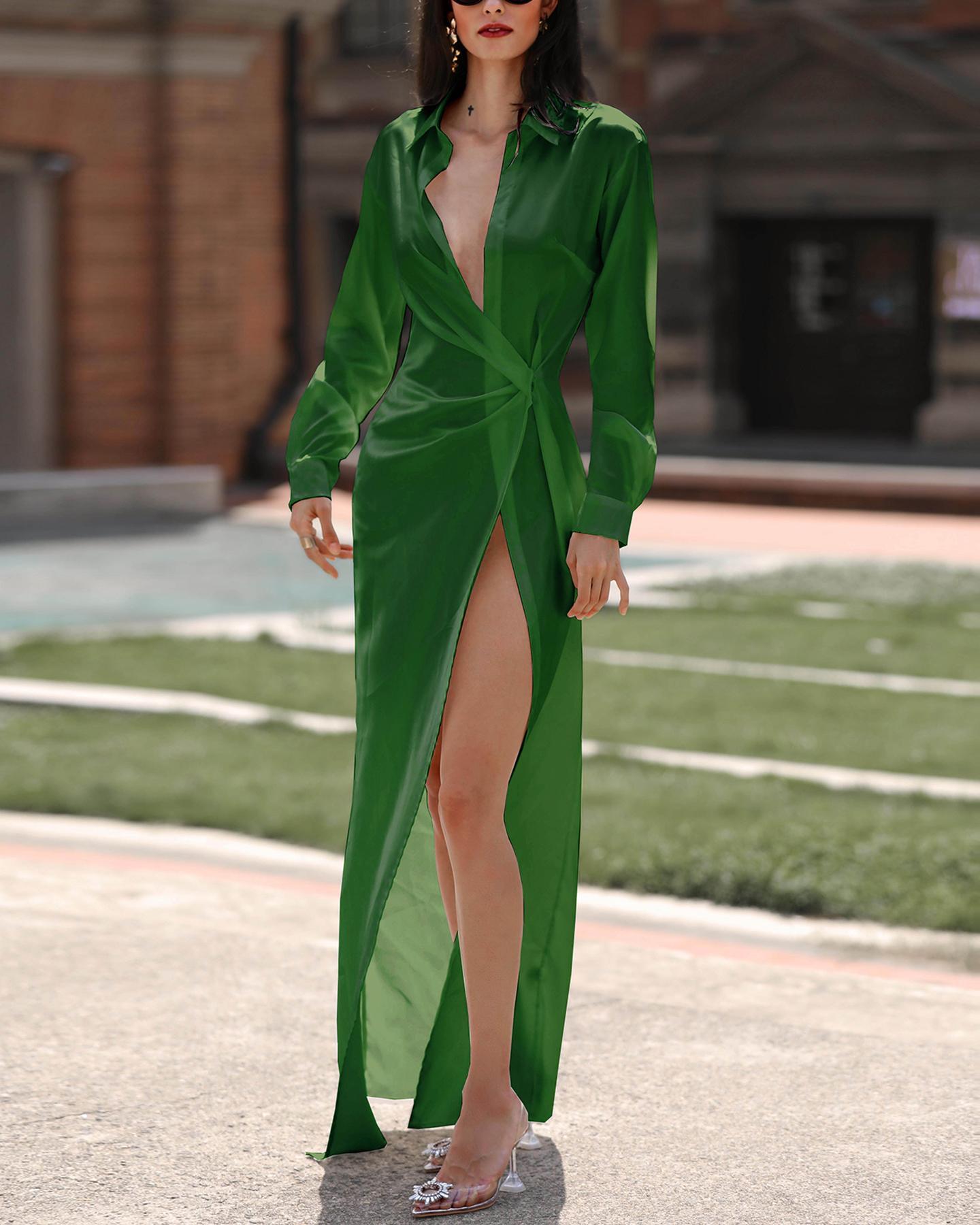 ivrose / Solid Twisted Design High Slit Maxi Dress