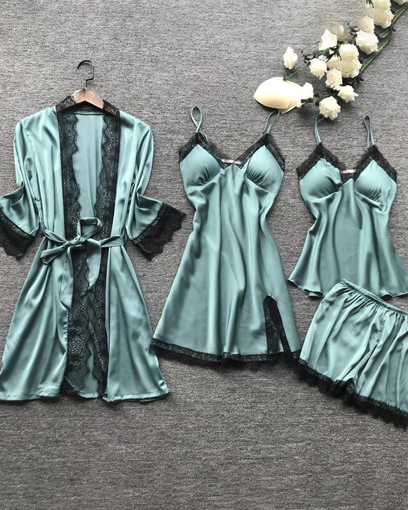 V-neck Lace Trim Satin 4PCS Sleepwear Set фото