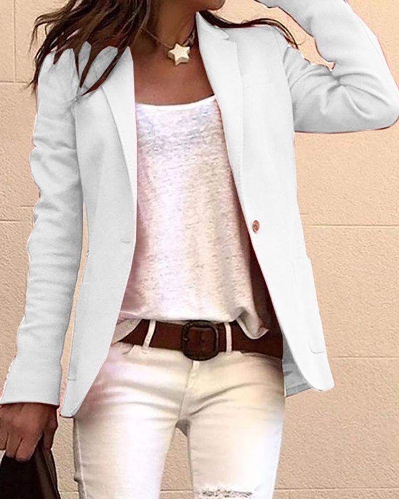 Solid Long Sleeve Single Buttoned Blazer Coat фото