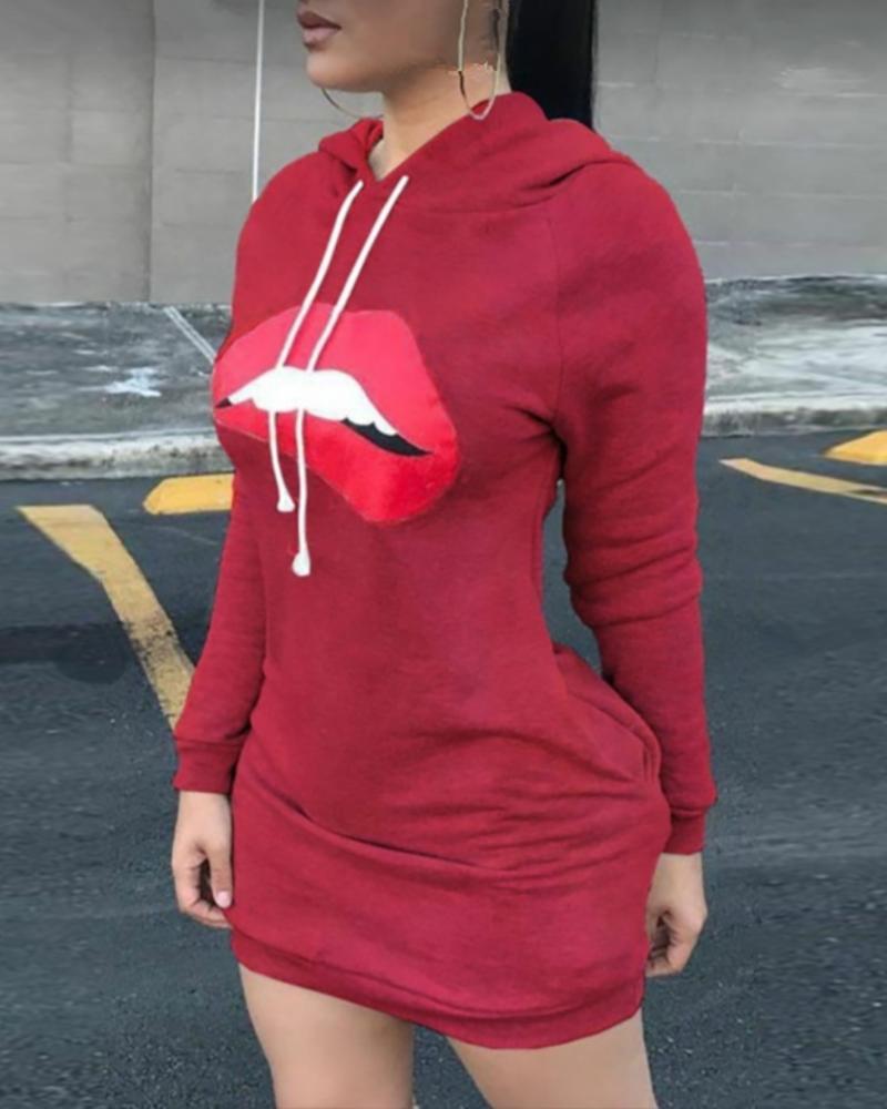 ivrose / Lip Print Hooded Casual Dress