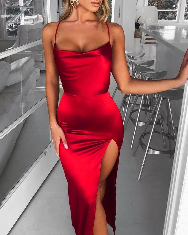 ivrose / Vestido de corte alto sin espalda con correa de espagueti