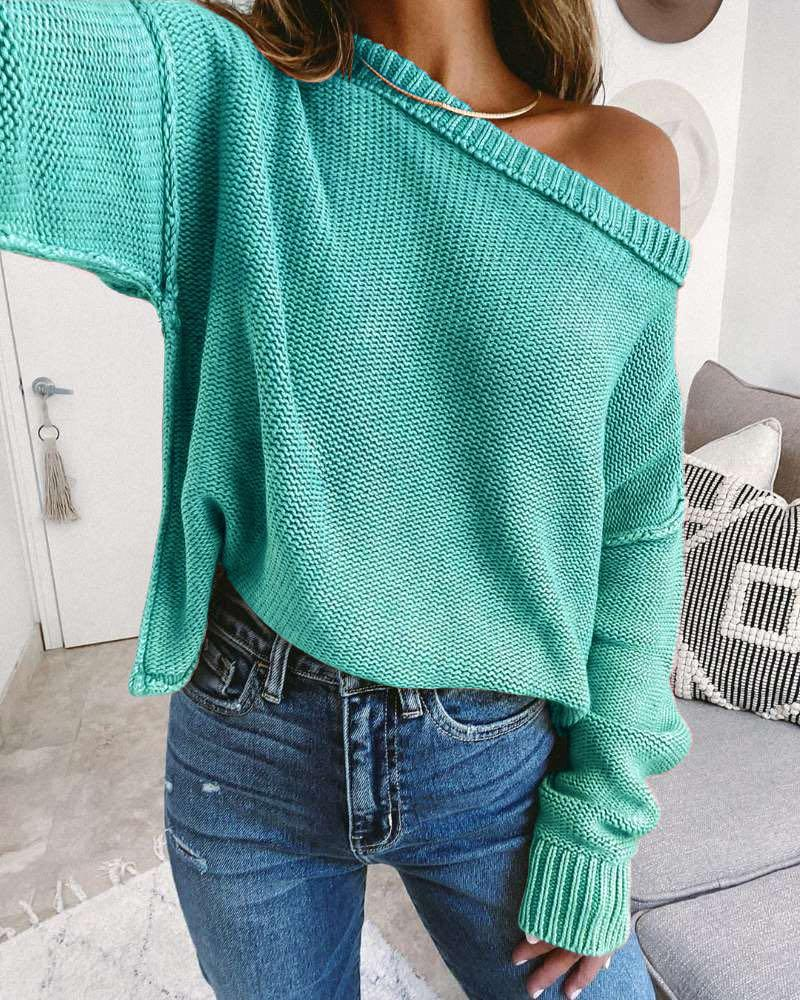Drop Shoulder Long Sleeve Knit Casual Sweater фото