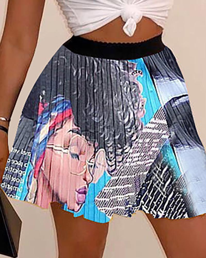 boutiquefeel / Desenhos animados de cintura alta impressa mini saia plissada