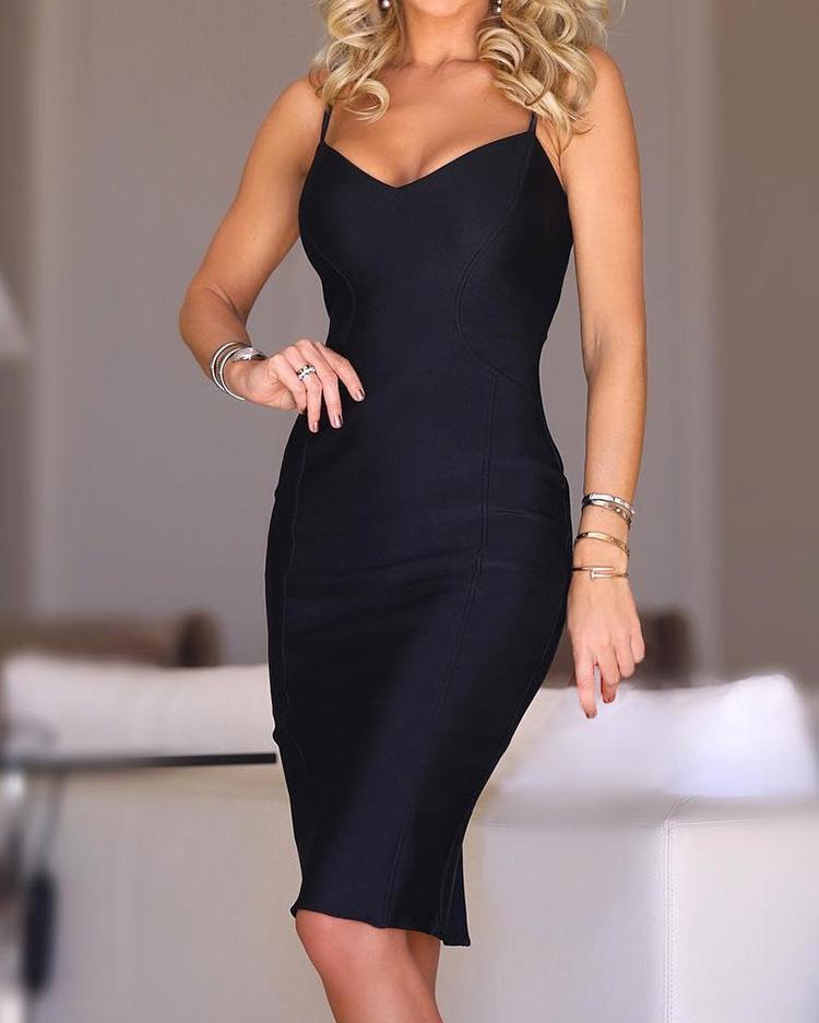 Solid V-Neck Spaghetti Strap Bodycon Dress, Black