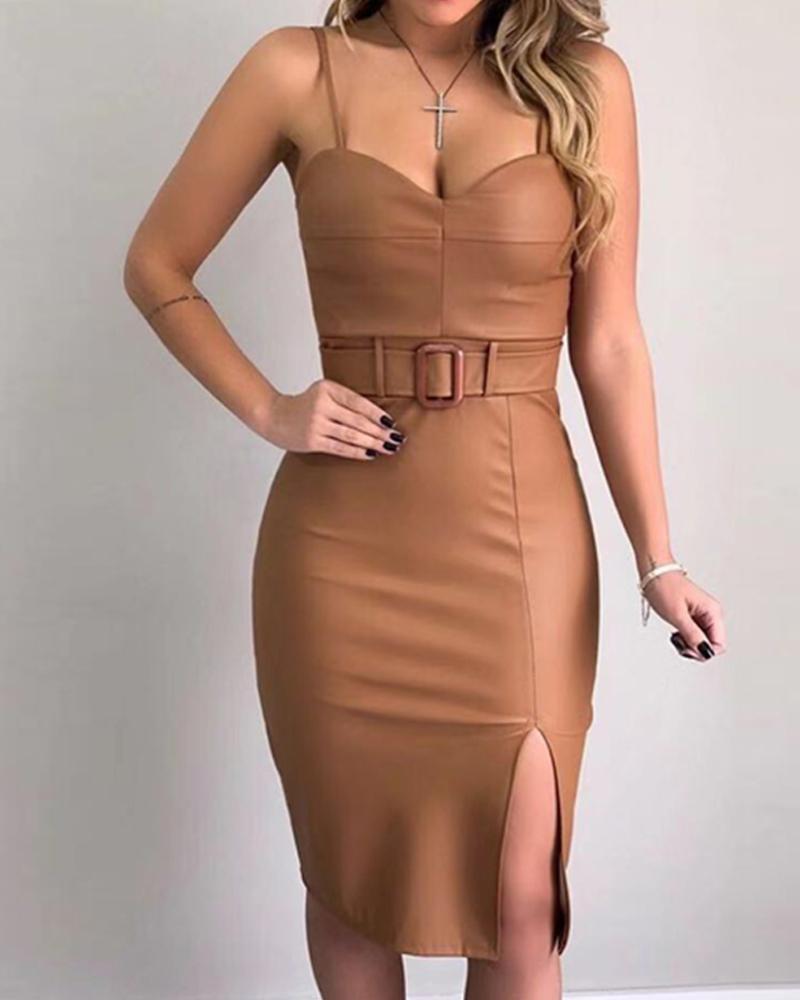 Spaghetti Strap Slit Midi Dress With Belt фото