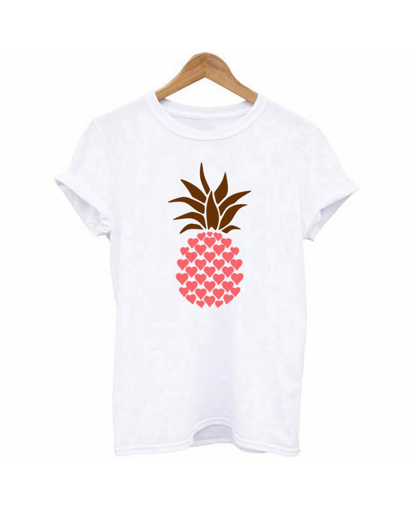 Pineapple Print Casual White T-shirt фото