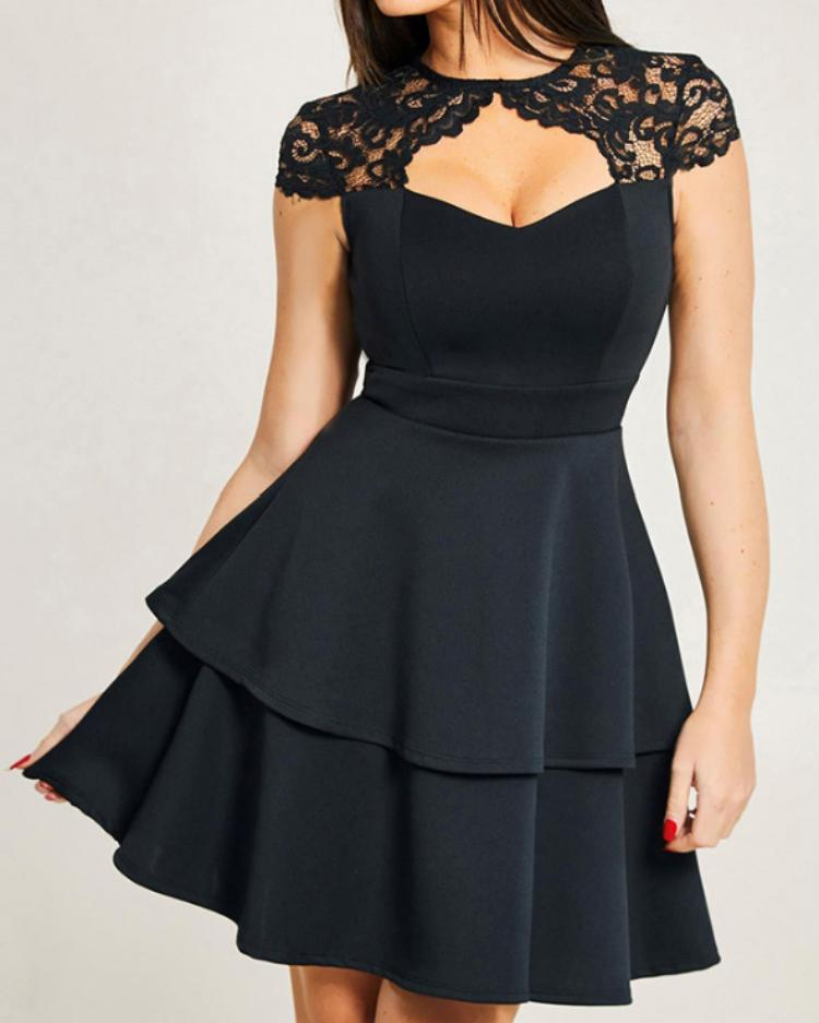 Lace Cut Out Front Layered Ruffles Dress фото