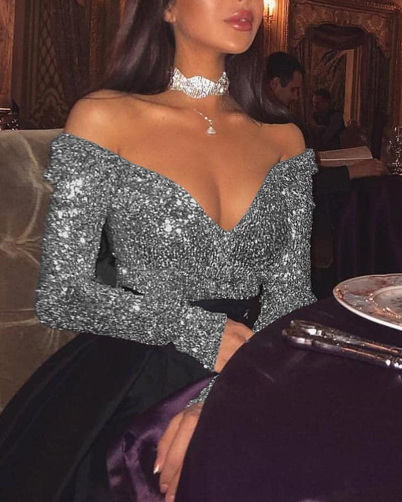 Sexy Off Shoulder Sequined Top фото