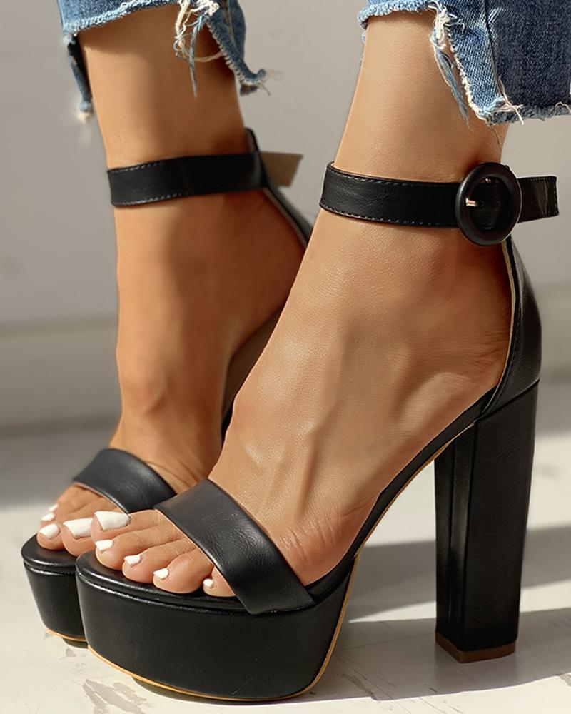 Solid Ankle-Buckled Platform Chunky Heeled Sandals, Black