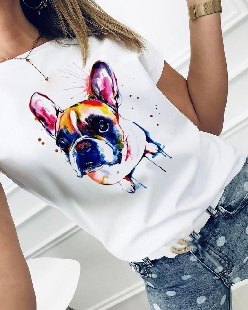 Dog Print Short Sleeve Casual T-shirt