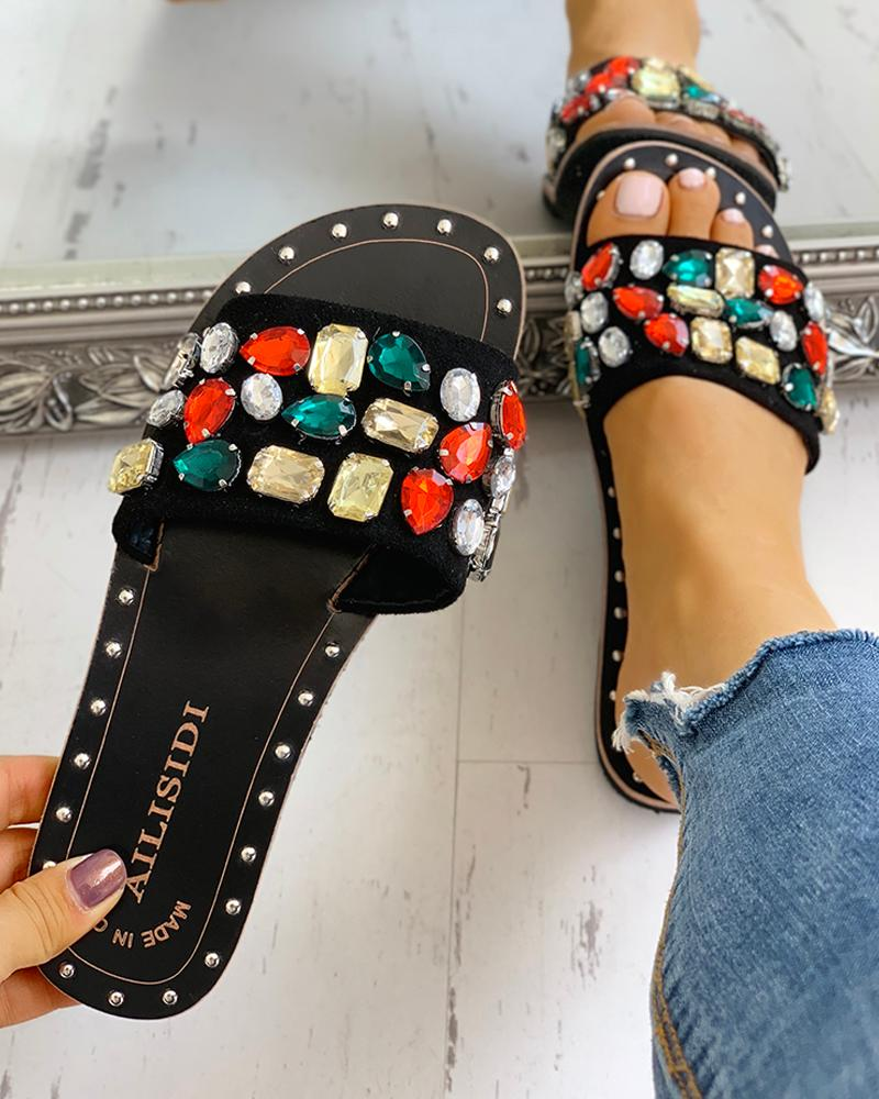Open Toe Studded Design Flat Sandals