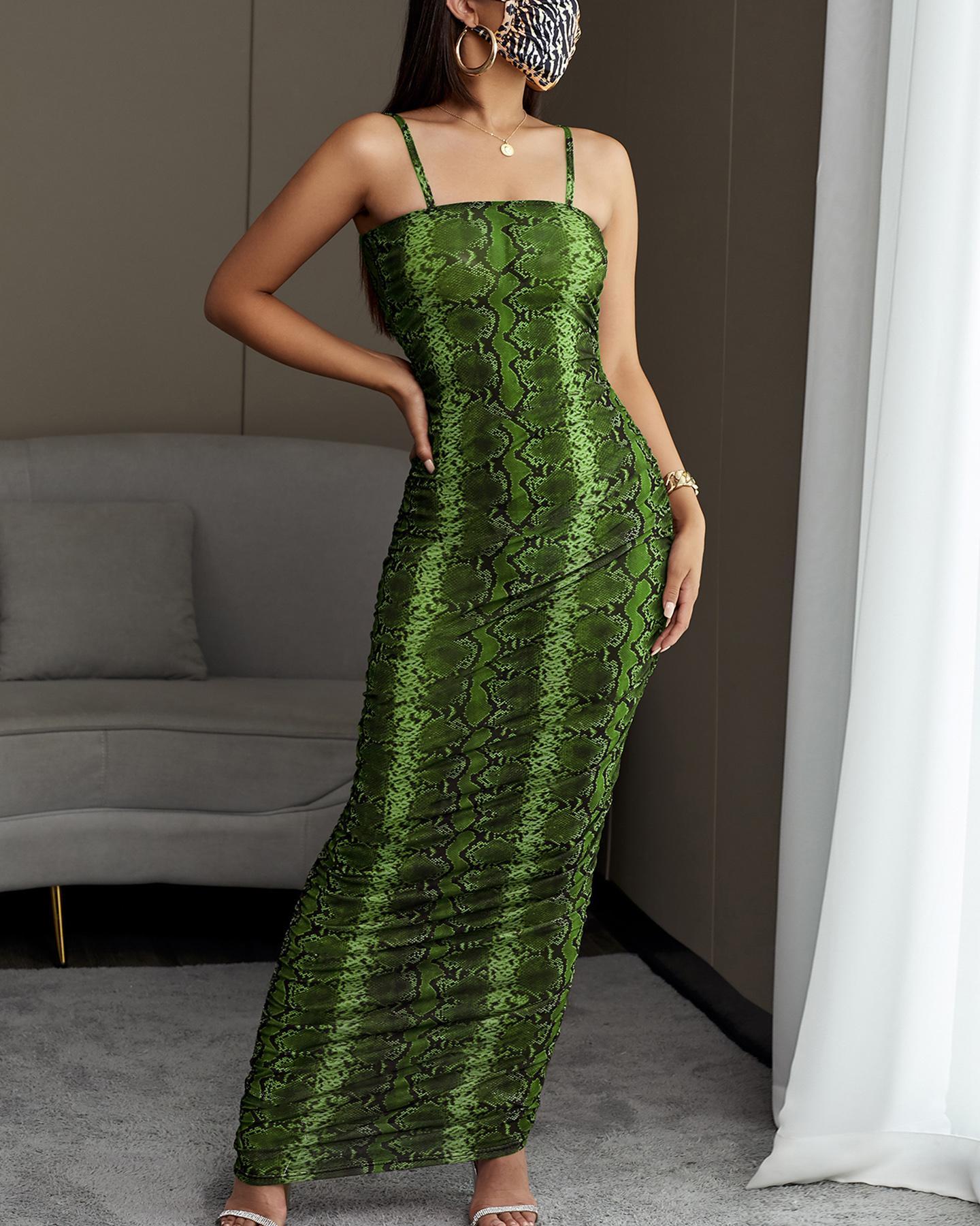Snakeskin Print Spaghetti Strap Dress фото
