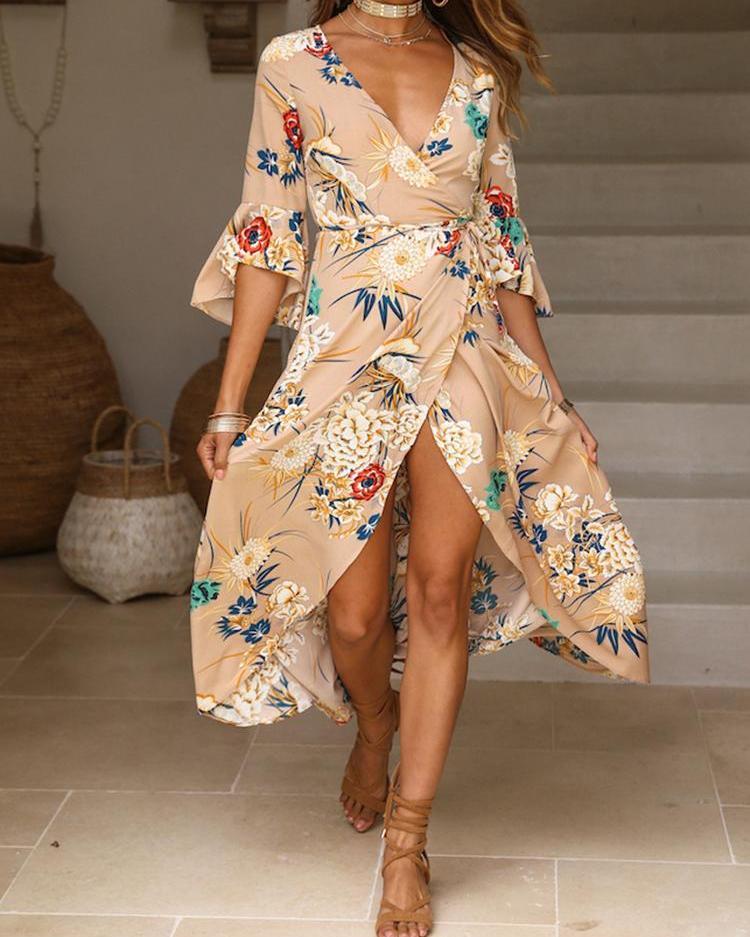 Floral Print Self Belted High Slit Wrap Maxi Dress