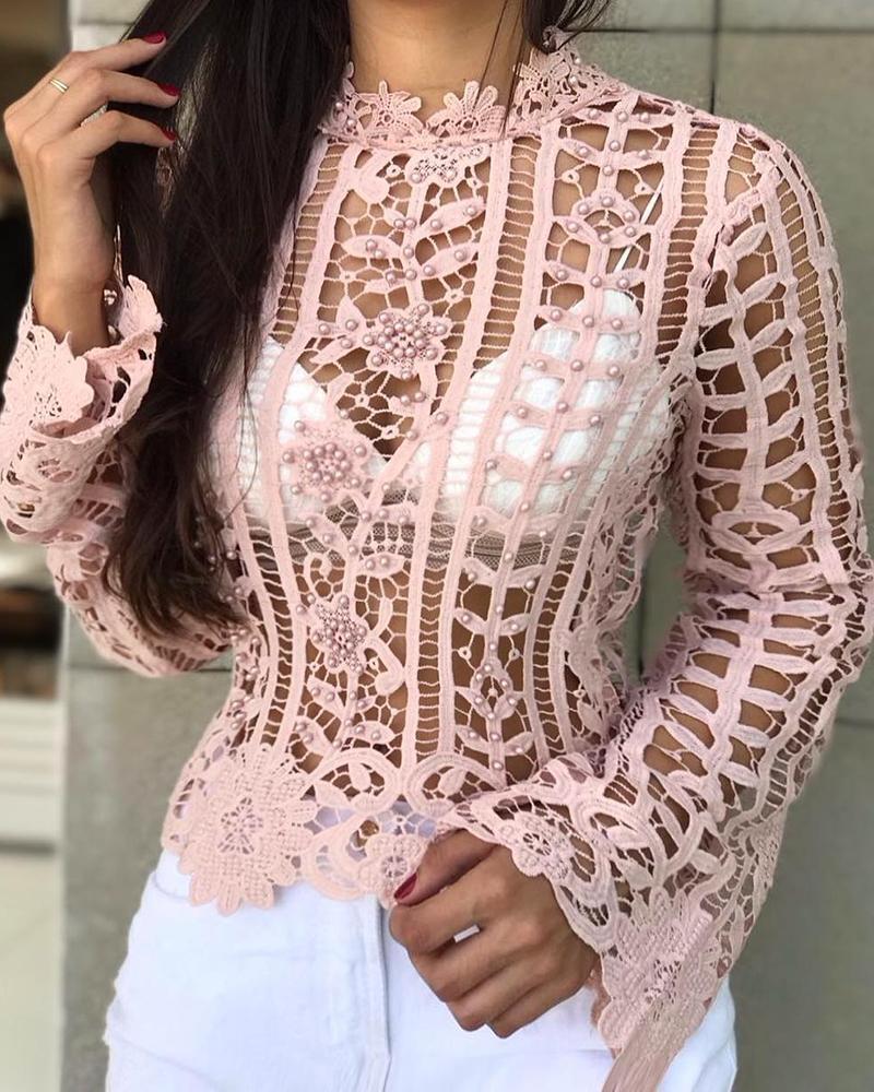 ivrose / Frisado oco out lace blusa casual