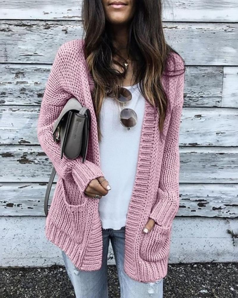 Solid Long Sleeve Open Front Pocket Cardigan фото
