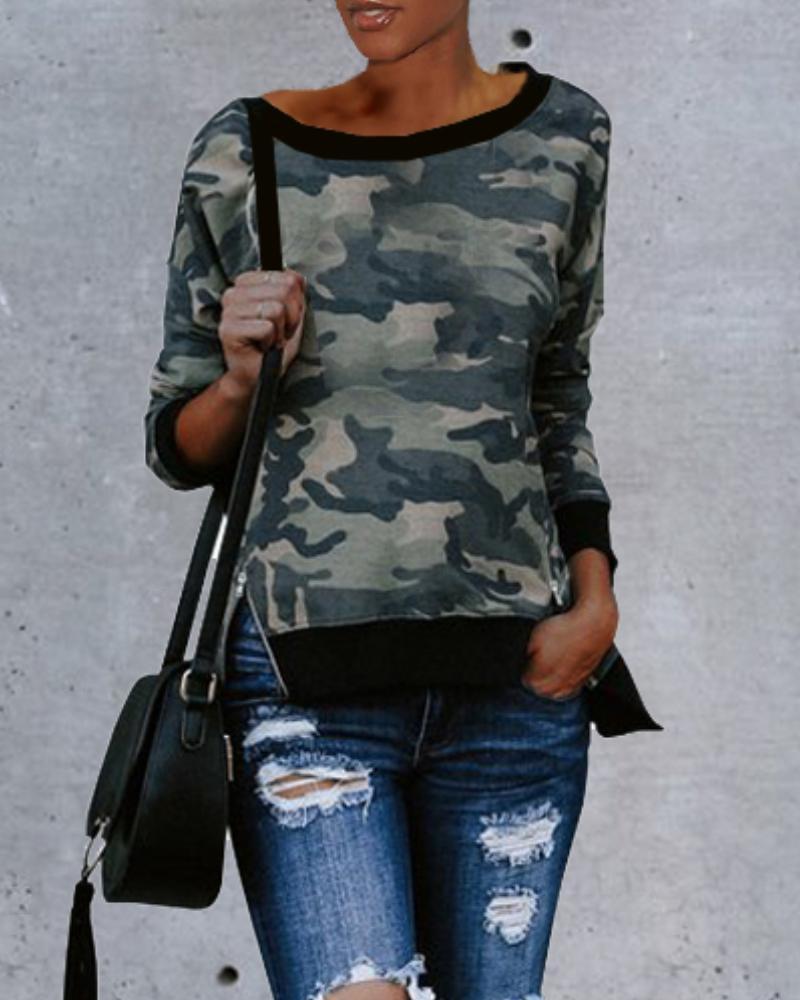 Camouflage Long Sleeve Casual Sweatshirt, Army green