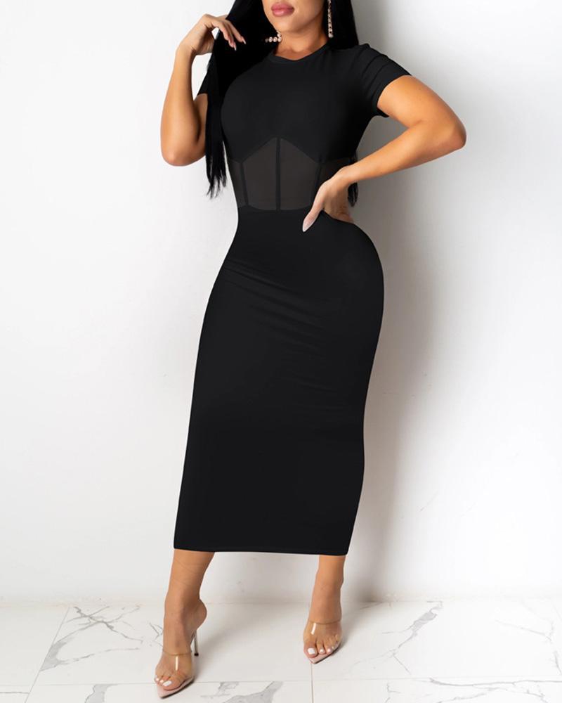 Sheer Mesh Short Sleeve Midi Dress фото