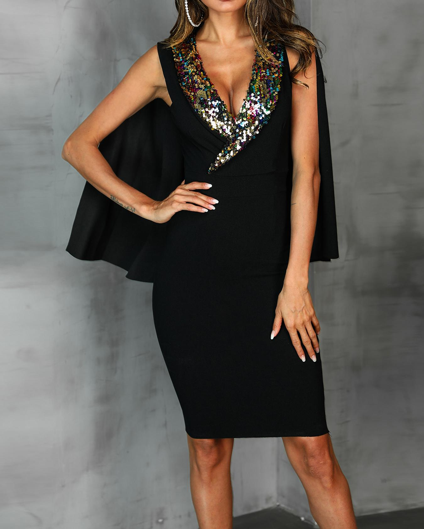 Sequin Collar Cloak Design Party Dress, Black