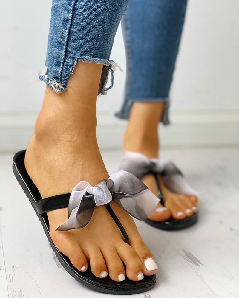 joyshoetique / Bowknot Design Toe Post Sandals