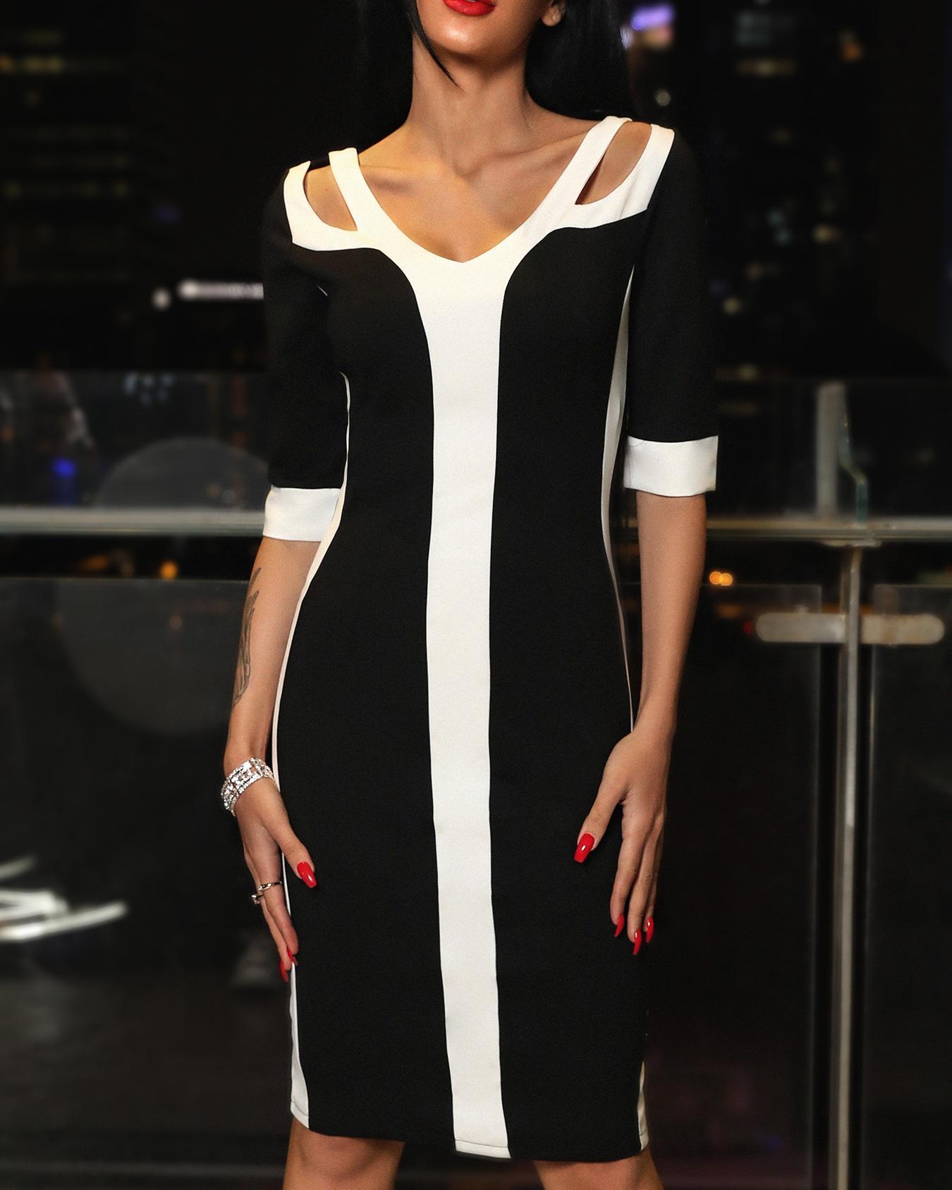 Colorblock Cutout Midi Bandage dress