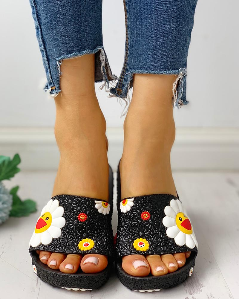 Colorful Sunflower Pattern Casual Sandals фото