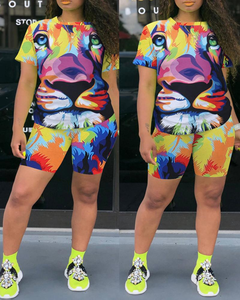 Lion / Tiger / Dog Print Colorblock Top & Shorts Set фото