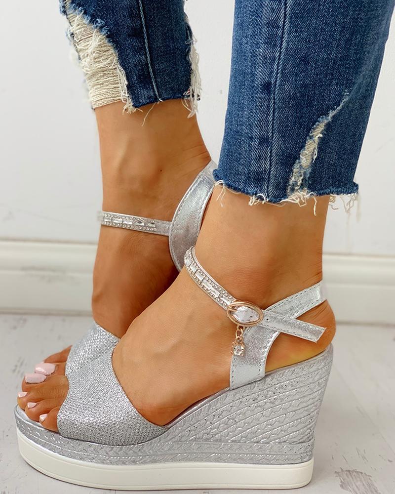 chicme / Sandalias de cuña de plataforma de correa de tobillo