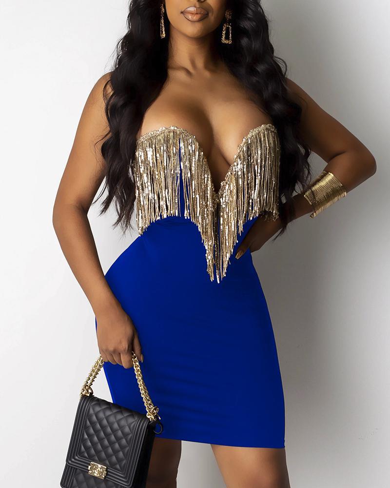 boutiquefeel / Vestido ajustado sin espalda con diseño de borlas de lentejuelas