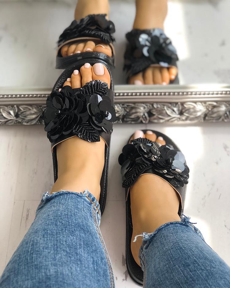 boutiquefeel / Sandalias planas sin cordones con adornos en lentejuelas