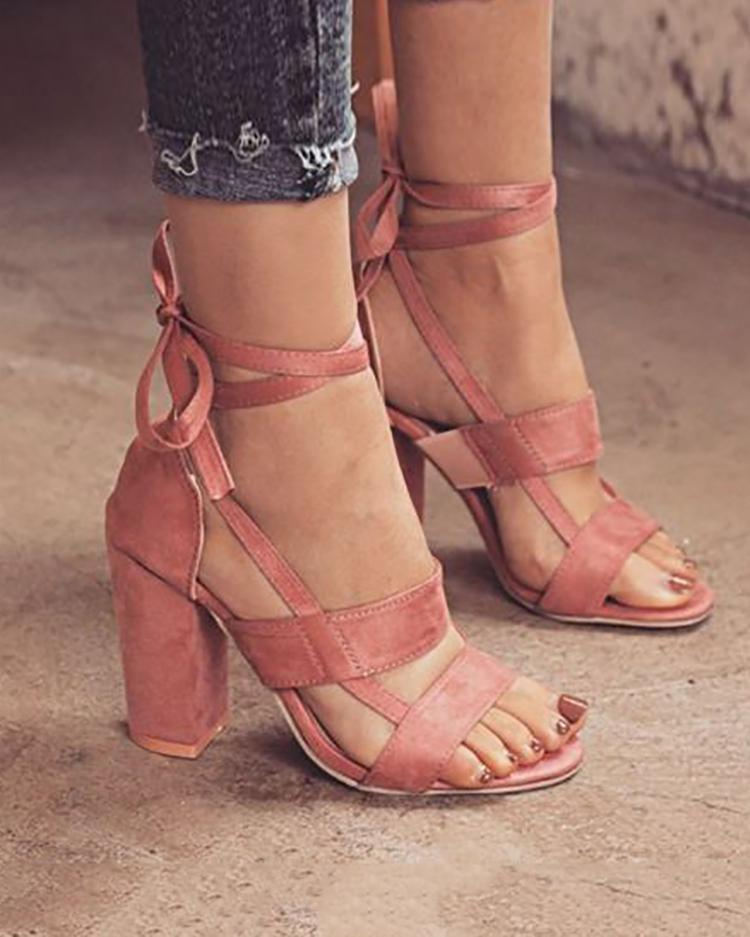 Купить со скидкой Fashion Solid Color Chunky Heeled Sandals
