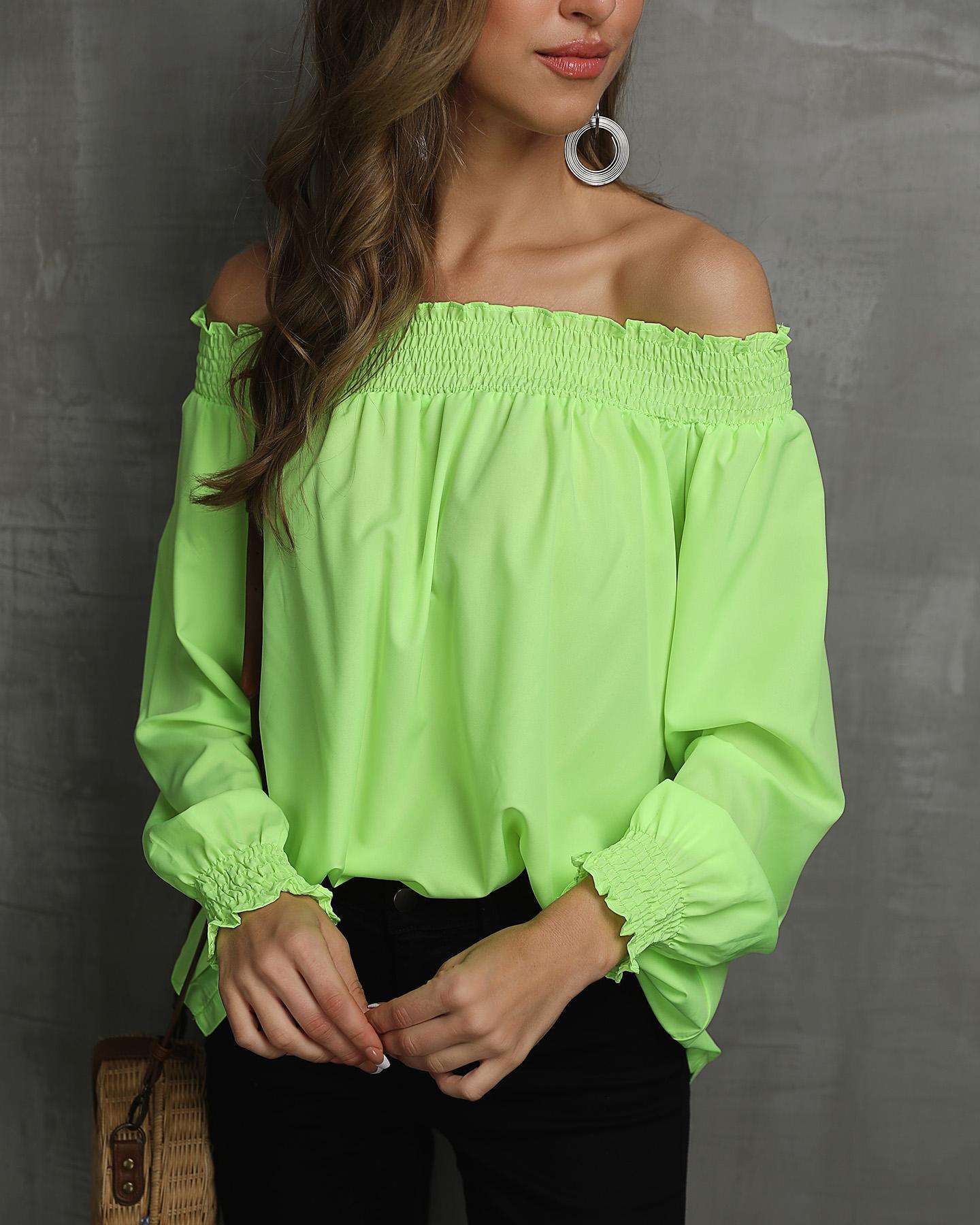 Off Shoulder Shirring Frill Hem Blouse, Green