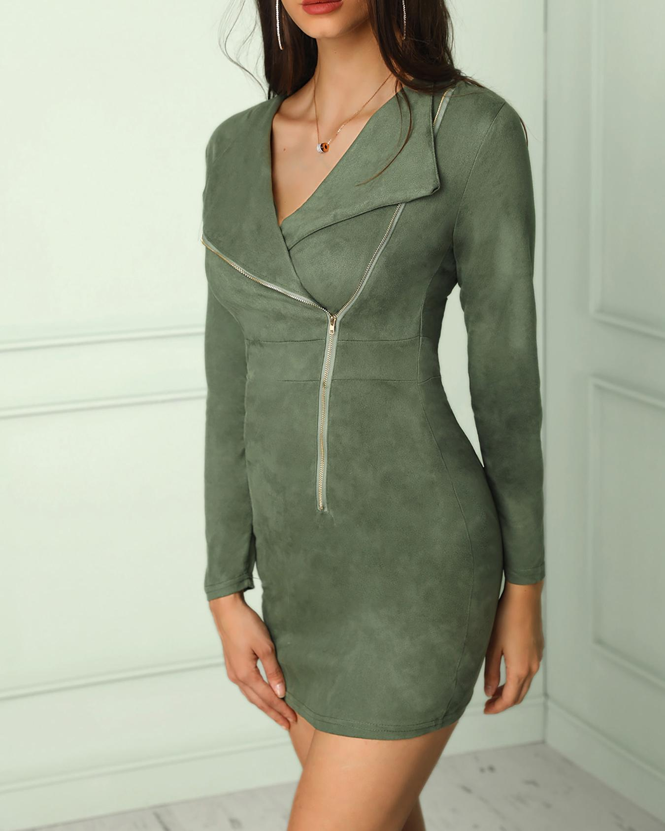 Solid Deep V Side Zipper Slinky Bodycon Dress фото