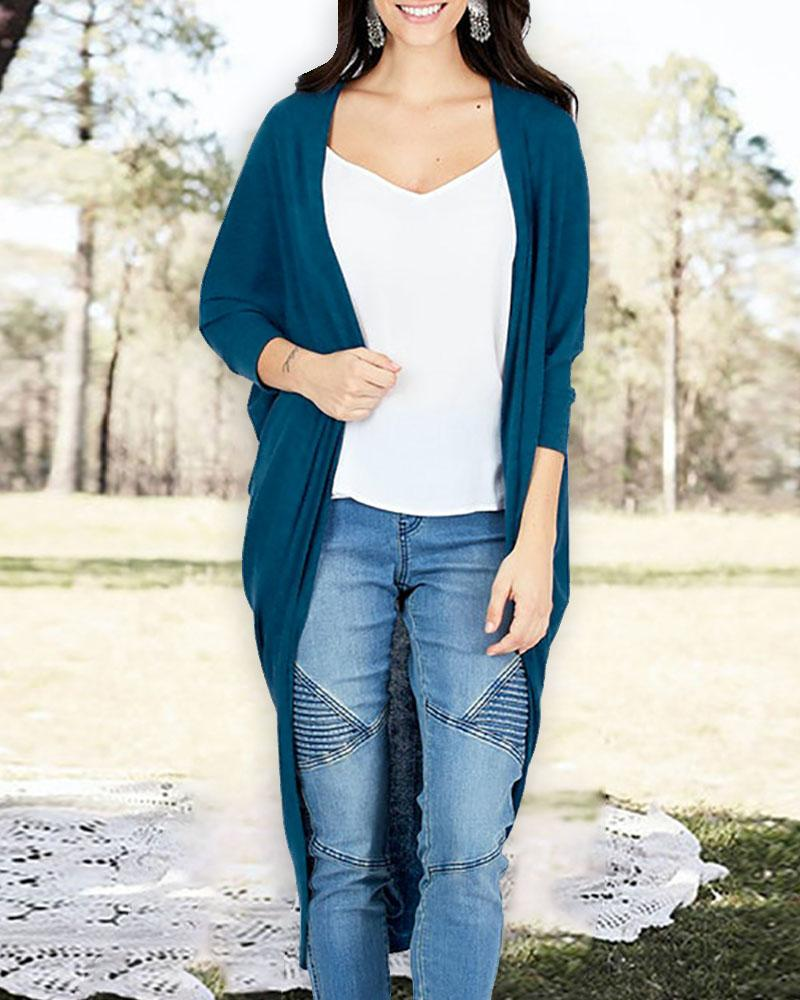 Ruched Knitted Irregular Casual Cardigan фото