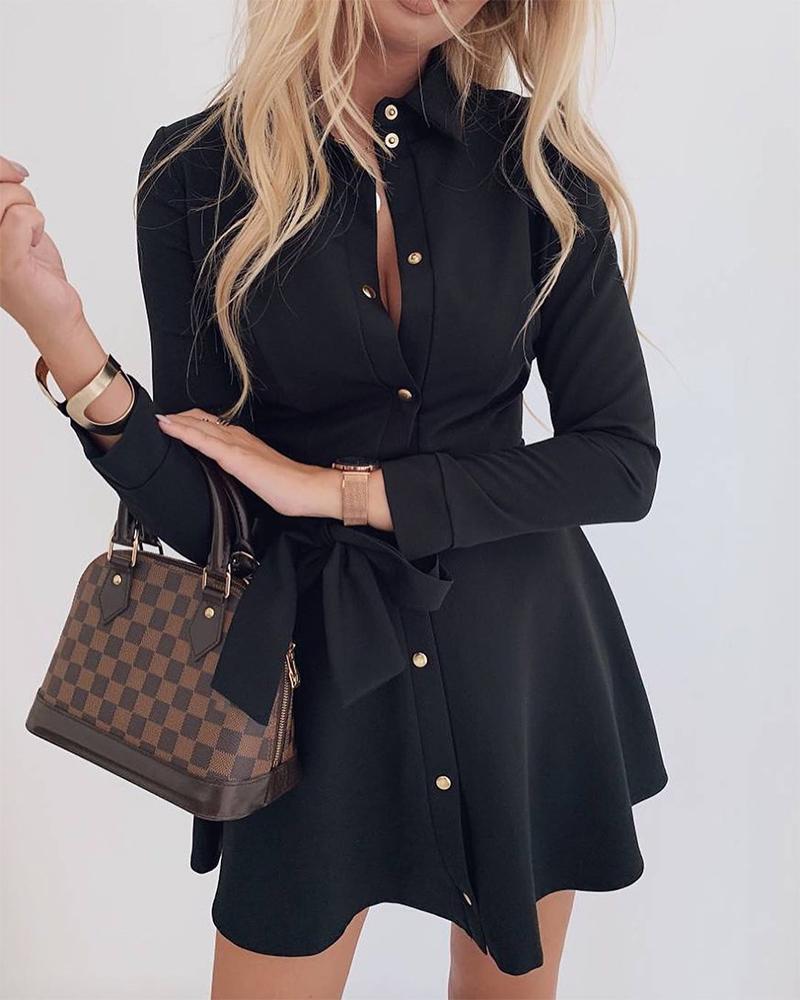 Button Up Ruffle Mini Dress фото