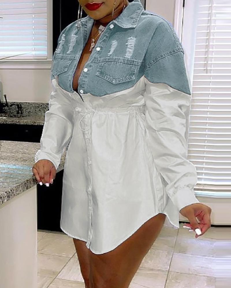 Image of Colorblock Button Front Ripped Denim Patch Shirt Dress