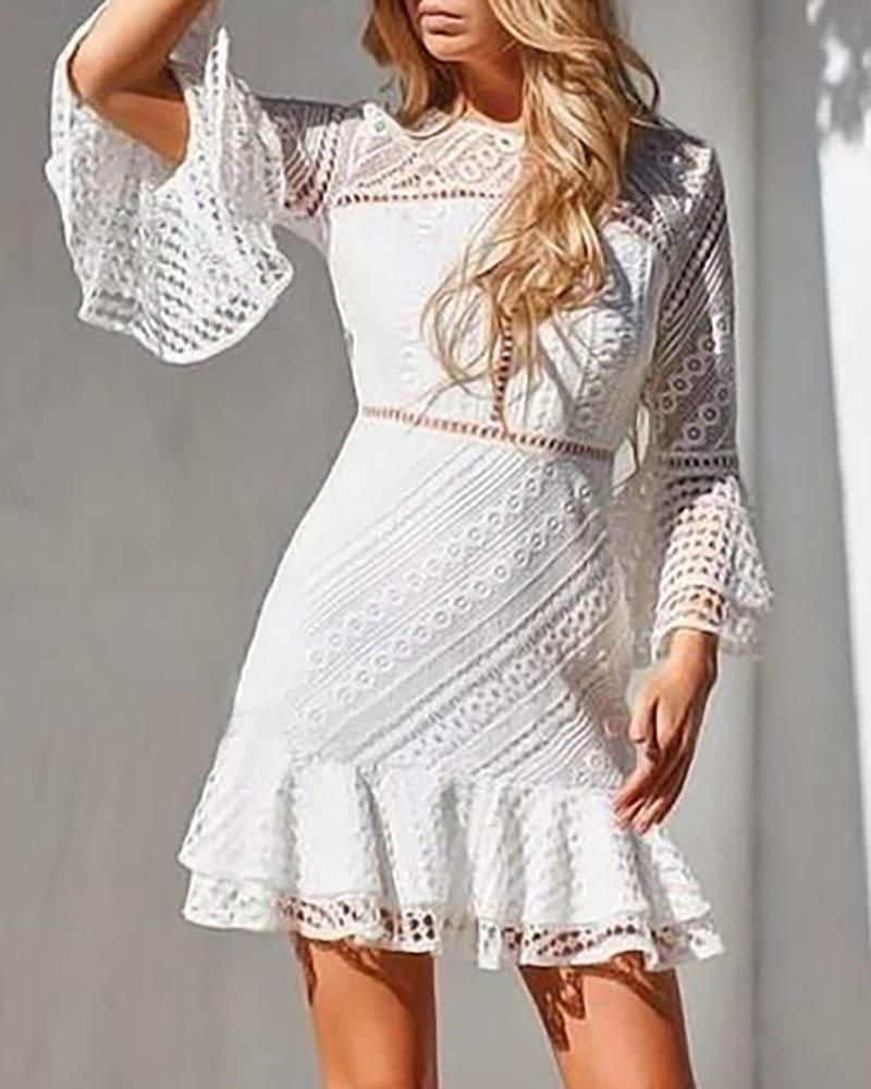 chicme / Ruched Hollow Out Bell Cuff Lace Insert Dress