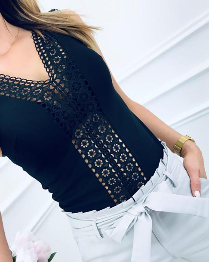 Broiderie Lace Sleeveless Casual Top фото