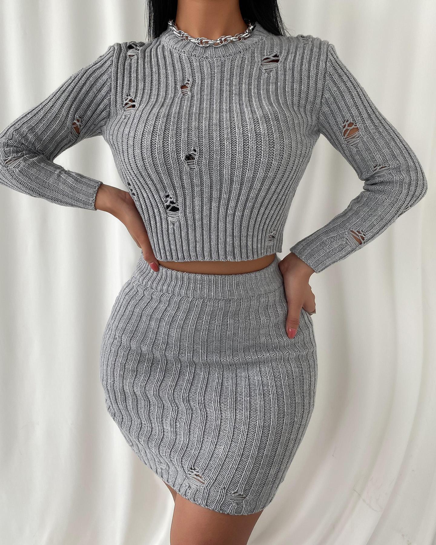 ivrose / Plain Hollow Out Knit Crop Top & High Waist Skirt Set