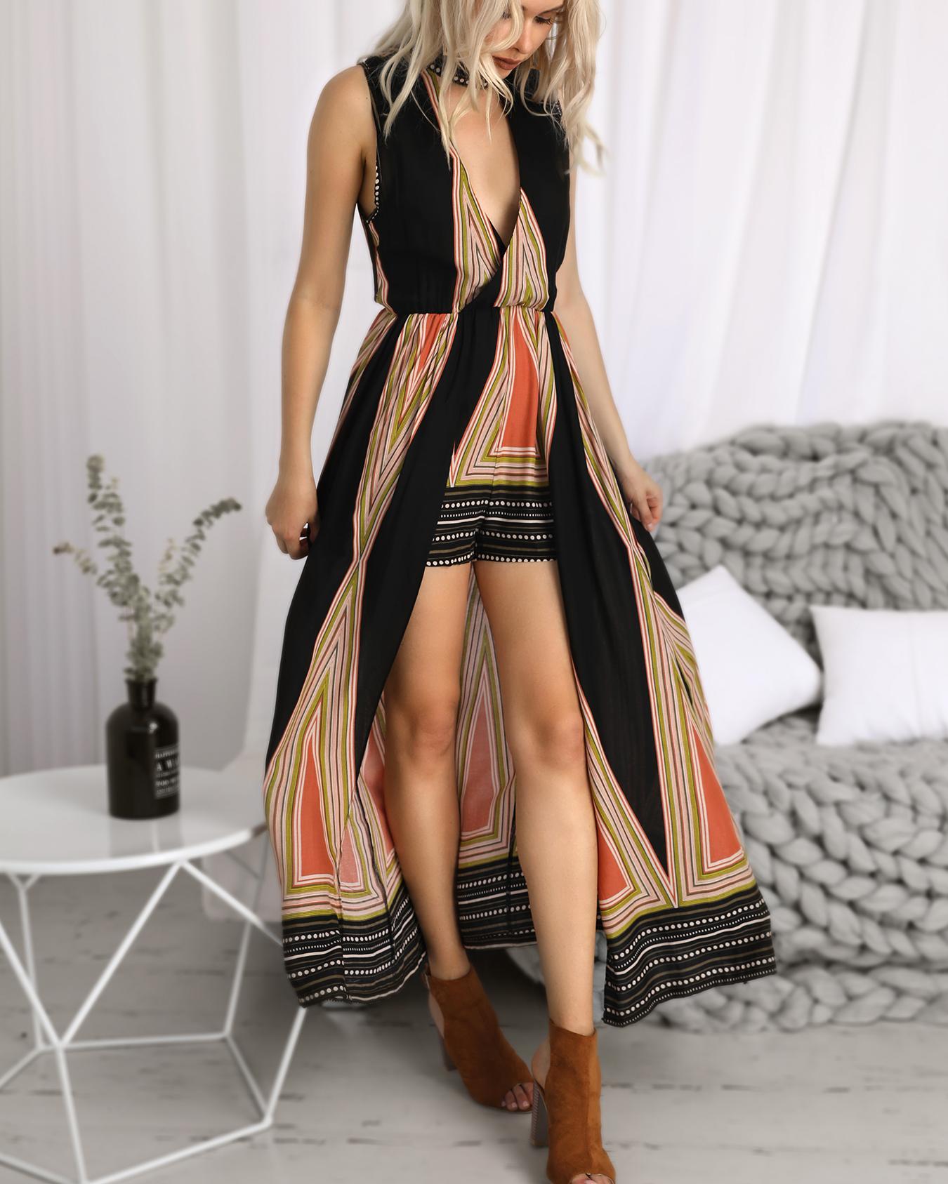 Geo Print Choker V Neck Maxi Romper Dress