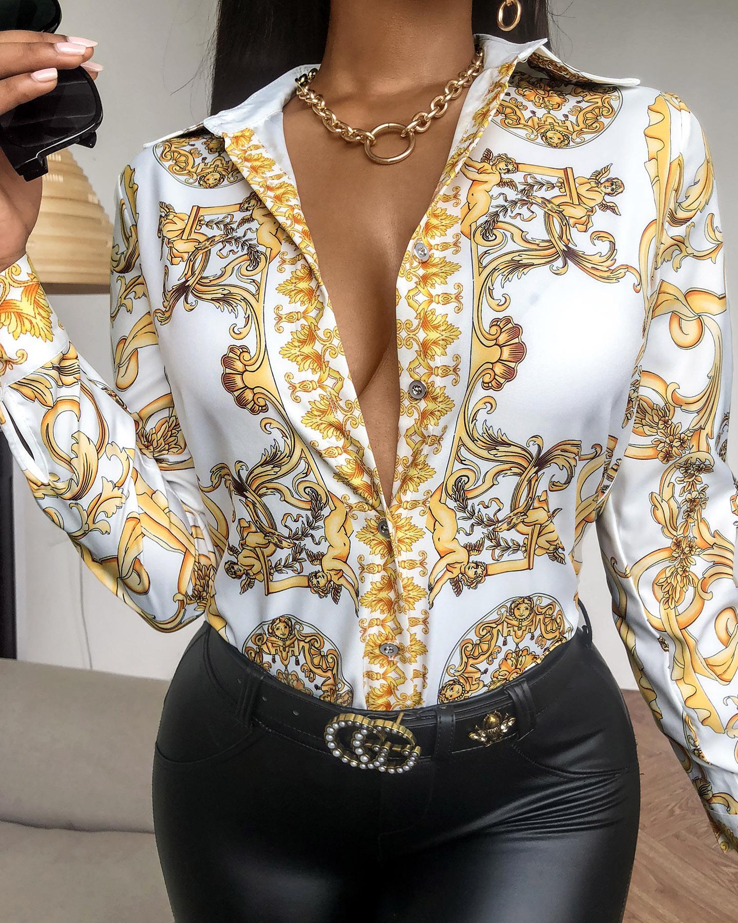 boutiquefeel / Camisa estampada retro de lenço com design de botão
