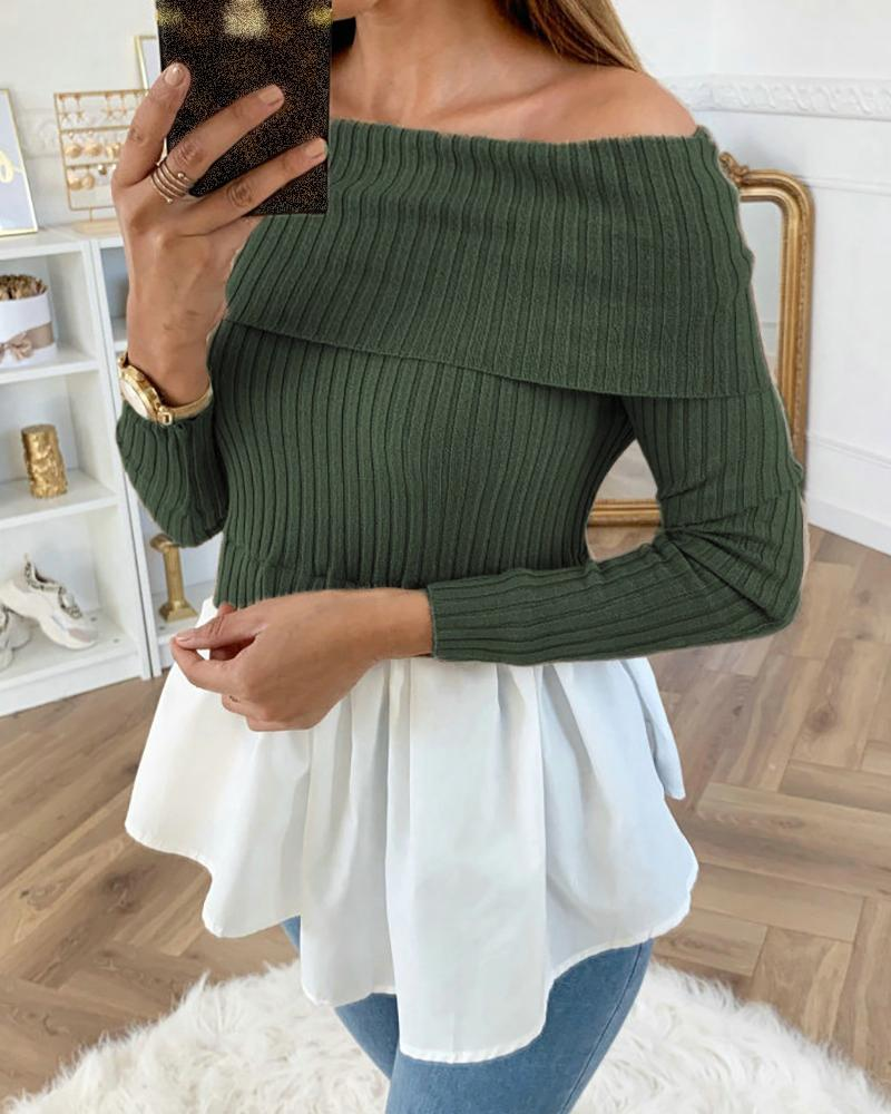 Off Shoulder Ribbed Long Sleeve Colorblock Insert Ruffles Blouse, Green