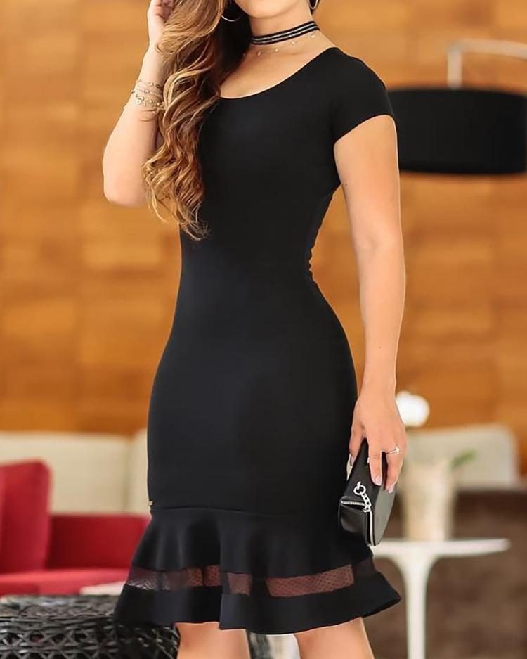 Short Sleeve Mesh Insert Ruffles Dress, Black