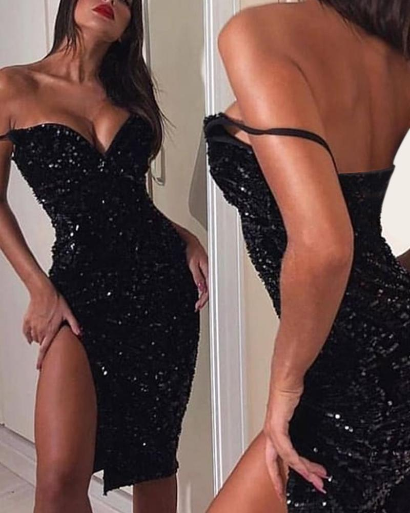 Black Sequin V-Neck Slit Dress