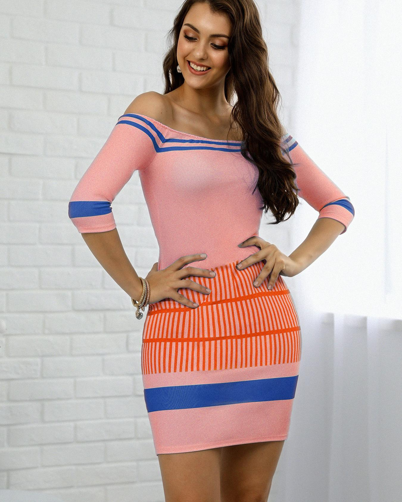 Contrast Striped Half Sleeve Bardot Bodycon Dress фото